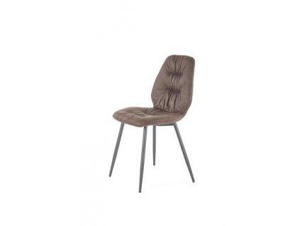 K312 židle nohy - černé, čalounění - hnědé
