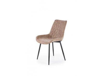 K313 židle nohy - černé, čalounění - hnědé