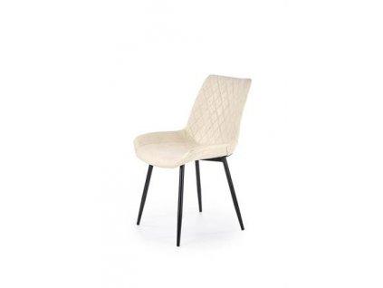 K313 židle nohy - černé, čalounění - krémové