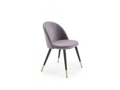 K315 židle nohy - černé / zlaté, čalounění - tmavě šedé