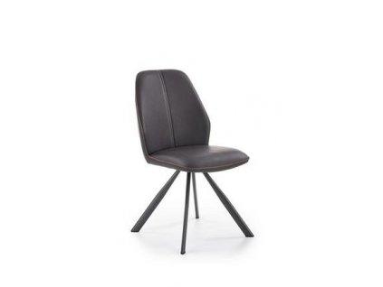 K319 židle kostra - antracitová, čalounění - tmavě šedé / hnědé