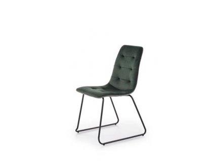 K321 židle kostra - černá, čalounění - tmavě zelená / šedé
