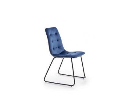 K321 židle kostra - černá, čalounění - tmavě modré / šedé