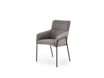 K327 židle kostra - černá, čalounění - šedé
