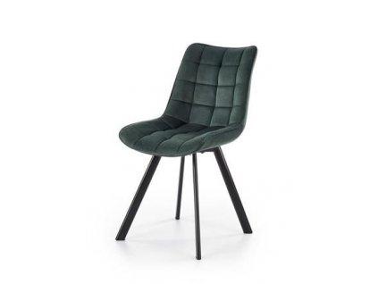 K332 židle nohy - černé, sedadlo - tmavě zelené