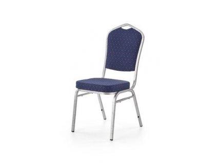 K68 židle konferenční kostra - stříbrná kladívková, čalounění - modré