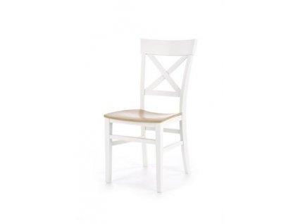 TUTTI židle bílá / dub velbloudí
