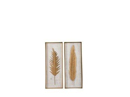 Obrázek dekorační Leaf zlatý/kov/dřevo