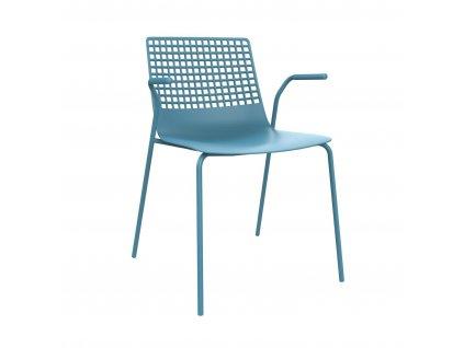 Židle Wire 4 modrá s područkami