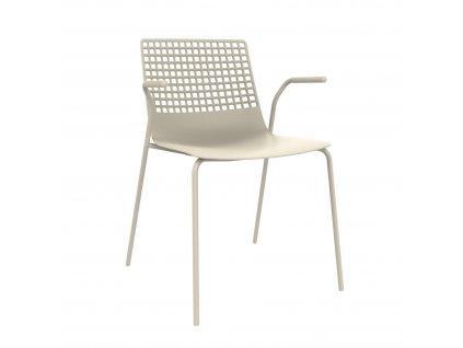 Židle Wire 4 světle béžová s područkami