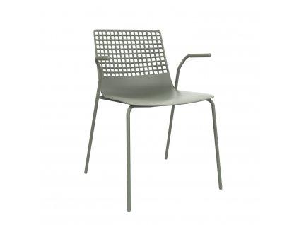 Židle Wire 4 špinavě zelená s područkami
