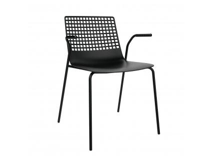 Židle Wire 4 černá s područkami