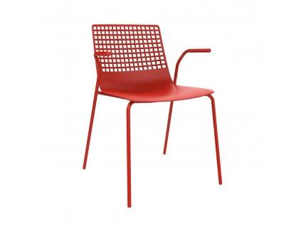 Židle Wire 4 červená s područkami