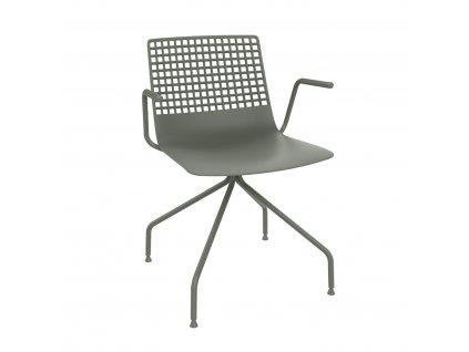 Židle Wire Arana špinavě zelená s područkami