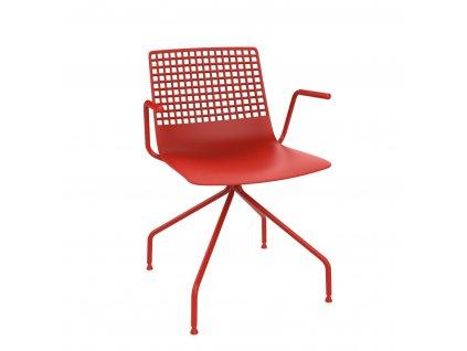 Židle Wire Arana červená s područkami