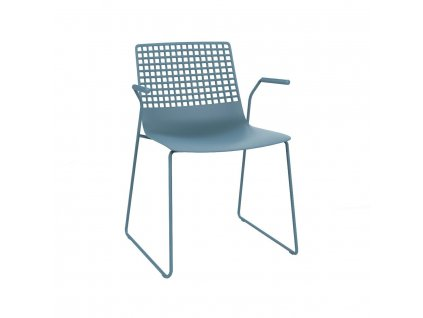 Židle Wire Patin modrá s područkami