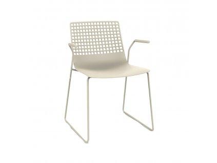 Židle Wire Patin světle béžová s područkami