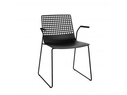 Židle Wire Patin černá s područkami