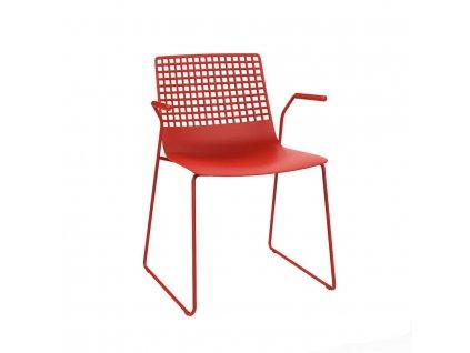 Židle Wire Patin červená s područkami