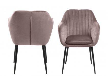 Židle Emilia Velvet dusty rose/černá