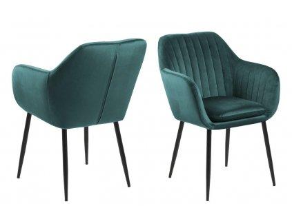Židle Emilia Velvet green/černá