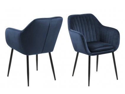 Židle Emilia Velvet tmavě modrá/černá
