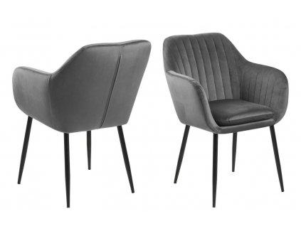 Židle Emilia Velvet tmavě šedá/černá