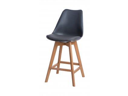 Barová židle Norden Wood Low PP tmavě šedý