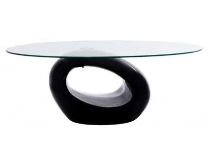 Stolek Ring černý, skleněná deska