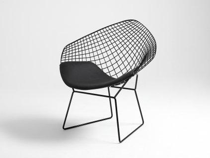 Židle DIAMANT - černá, polštář černý