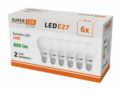 6x Žárovka LED E27 10W koule neutrální