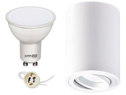 Sada světlo na povrch + žárovka LED GU10 5W teplá bílá