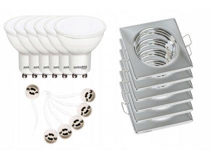 6x halogenové svítidlo základna CHROM + 6x LED GU10 5W bc+ 6x kabeláž s objímkami GU10