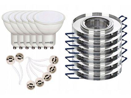 6x halogenové světlo SKLO kulaté + 6x LED GU10 5W BC+ 6x kabeláž s objímkami GU10