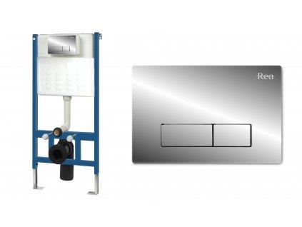 Sada rámová podomítková pro WC mísy s tlačítkem H Chrom