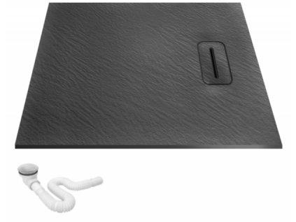 Vanička sprchová kámen Stone 80 x 120 - Barva vaničky: černá