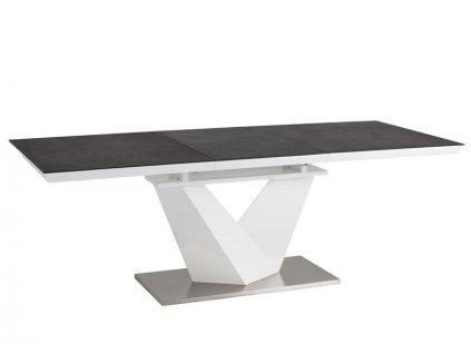 Stůl ALARAS II černý efekt kamene / bílý lak 120(180)x80