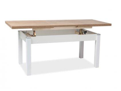 Nízký stolek KLEOPATRA dub Lancelot / bílý polomat 124(164)x64x56(75)