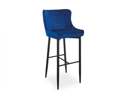 Barová židle COLIN B H-1 Velvet černá kostra/tmavě modrý Bluvel 86
