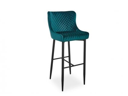 Barová židle COLIN B H-1 Velvet černá kostra/zelený Bluvel 78