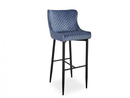 Barová židle COLIN B H-1 Velvet černá kostra/šedý Bluvel 14