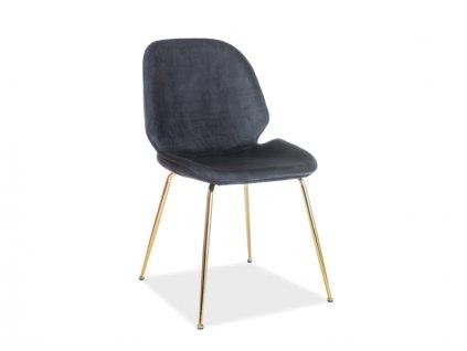 Židle ADRIEN Velvet zlatá kostra / černé polstrování č.117