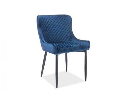 Židle COLIN B Velvet černá kostra/tmavě modrý Bluvel 86