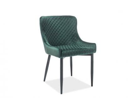 Židle COLIN B Velvet černá kostra/zelený Bluvel 78