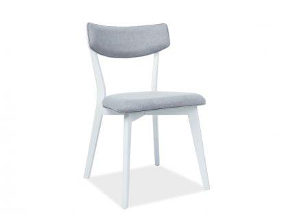 Židle KARL bílý/šedé polstrování č.136