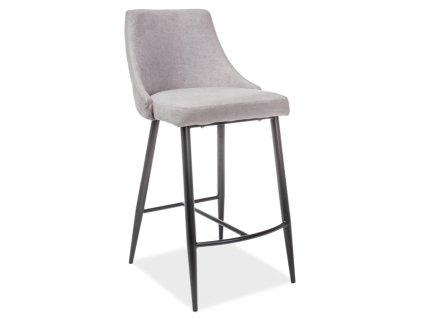 Barová židle NOBEL H-1 černá kostra šedé polstrování č.70