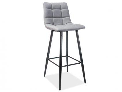 Barová židle SPICE H-1 černá kostra / šedé polstrování č. 123