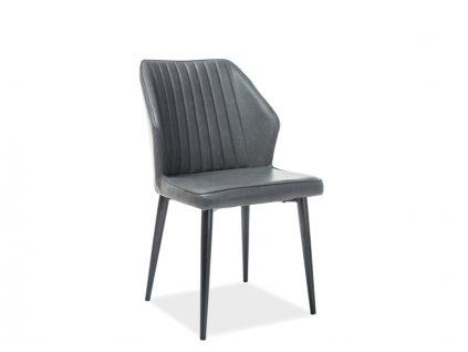 Židle APOLLO černá kostra / šedá koženka