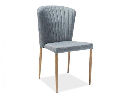 Židle POLLY dub kostra/šedé polstrování č. 125
