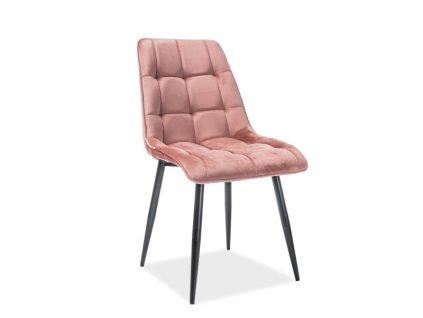 Židle CHIC Velvet černá kostra / anticky růžové polstrování č.92